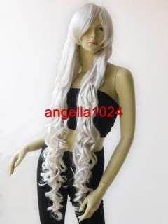 40 long bangs curly cosplay wigs silvery white