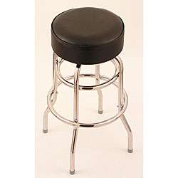 30 inch Backless Counter Swivel Stool with Black Vinyl Cushion Seat