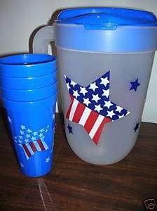 4th July Pitcher Durable Plastic w/4 16oz Glasses Blue