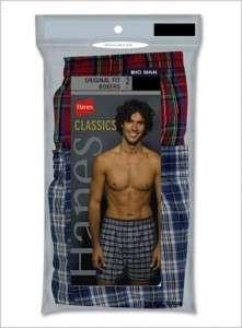 NIP 2 Pair 3X BIG Mens Hanes Plaid Cotton Boxer Shorts 3XL 48 50 NEW