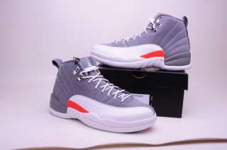 NIKE Mens Shoes AIR JORDAN 12 RETRO 130690 012 GREY /ORANGE