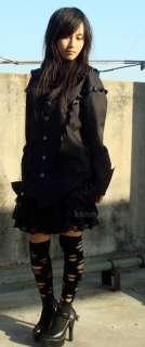 Lolita black kera RUFFLES visual kei shirt top blouse