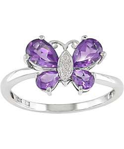 10k White Gold Amethyst Butterfly Ring