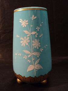 ANTIQUE BLUE OPAQUE ART GLASS VASE w/ ENAMELED DECOR.