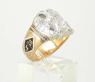 BEAUTIFUL ESTATE 14K 2 TONE GOLD & ENAMEL MASONIC RING