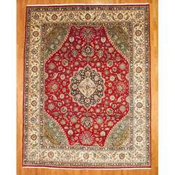 Persian Hand knotted Red/Navy Kashan Rug (11 x 15)