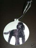 BLACK POODLE CHRISTMAS TREE ORNAMENT W SILVER RIBBON