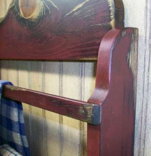 Primitive Grungy Wood Towel Linen Bar Rack   R