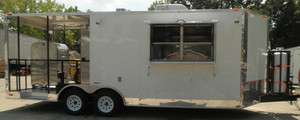 NEW 8.5 x 20 WHITE BBQ SMOKER FOOD EVENT ENCLOSED CONCESSION TRAILER