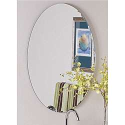 Frameless Oval Scallop Beveled Mirror