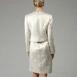Patra Ltd Womens Beaded Metallic Brocade Jacket Dress