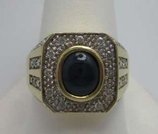 Mens Blue Star Sapphire & .30 ct t.w. Diamond Ring in 14k Yellow Gold