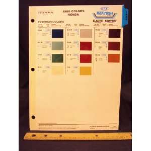 , Civic, & Prelude Paint Colors Chip Page Honda Motor Company Books