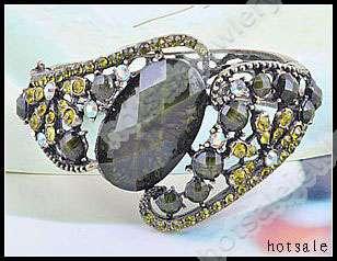 6pcs Charm Crystals Vintage Bangle Cuff Bracelets