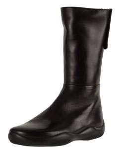 Prada Sport Black Leather Flat Mid calf Boots