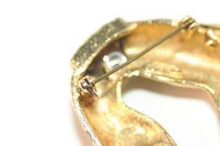 Vintage Florenza Gold Leopard Rhinestone Brooch Pin