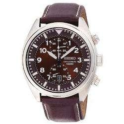 Seiko Mens SNN241 Chronograph Brown Dial Watch 029665153319