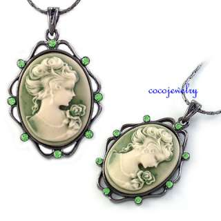 New Vintage Style Green Cameo Crystal Rhinestones Pendant Necklace