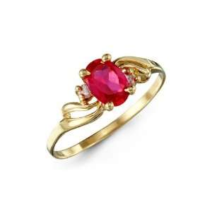 White Red Oval CZ 14k Yellow Gold Fashion Womens Ring