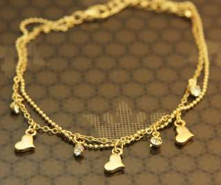 Lovely Triple Mini Hearts Charm Gold Plated Chain Bracelet Simple