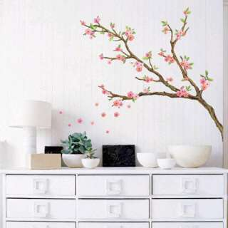 CHERRY BLOSSOM Tree Adhesive Removable Wall Home Decor Accents