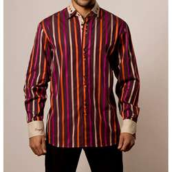 Coogi Luxe Mens European style Brown and Beige Striped Shirt