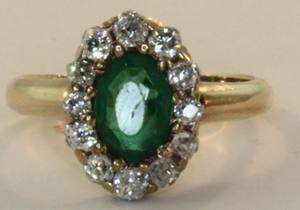 14k yellow gold diamond green stone ring .48ct estate vintage antique