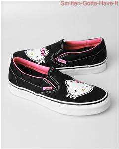 Vans HELLO KITTY New Womans 6 7 8 Face Black Slip On Sneakers Sanrio
