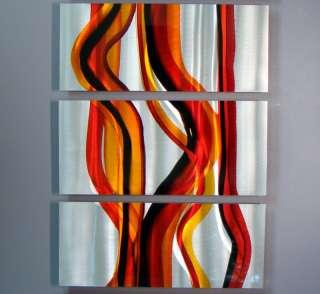 Abstract Red Orange Silver Aluminum Metal Wall Art Sculpture Jon Allen
