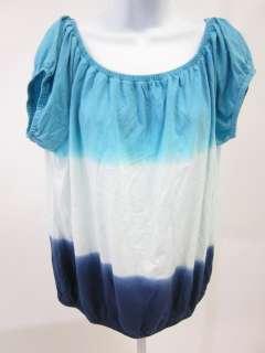 GIANNI BINI Blue White Scoop Neck Top Blouse Shirt Sz L