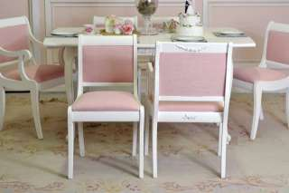 Shabby Cottage Chic White Dining Chairs Pink Linen Set of 6 Scroll