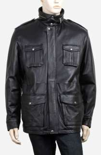 MENS BLACK LEATHER JACKET MILITARY VINTAGE COAT M 5XL
