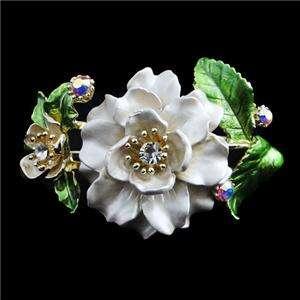 White Enamel Dual Flower Bracelet Bangle Cuff Swarovski Crystal