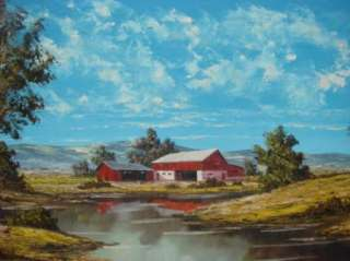 Heyer Signed Original Huge Landscape Farm Oil Painting
