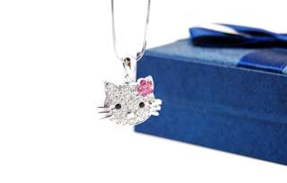 NEW FAMOUS HELLO KITTY FACE NECKLACE WITH PINK FLOWER~