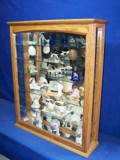 Oak Curio Cabinet Wood and Glass Wall Display Case ~ NEW