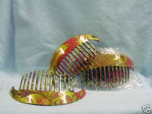 Design Hair Combs, 6 Gold Tone, Multi Colored, New