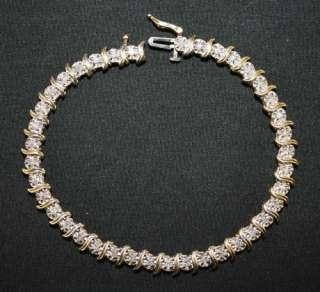 10K Yellow Gold Diamond S Style Tennis Bracelet