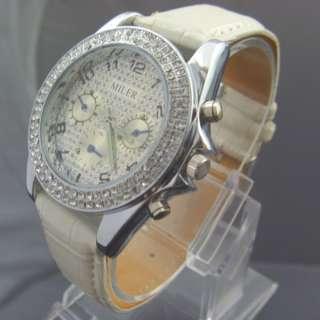 Trendy Crystal Mens Lady Quartz Sport Watch White New