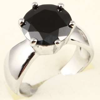LARGE ROUND CUT BLACK SAPPHIRE A074 RING