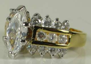 20ctw Marquise Cut White Sapphire Engagement Ring 7.1g Sz 8