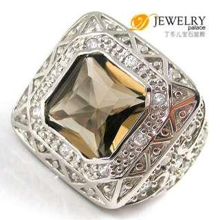 HUGE DESIGN Genuine Smoky Quartz Ring 925 Silver Sz. 9