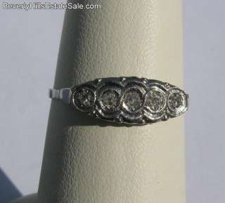 Antique Art Deco 5 Diamond 18k White Gold Ring