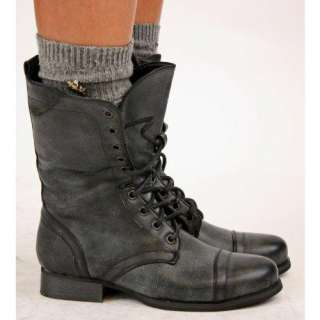 Women Flat Lace up Army Biker Ankle Black Ladies Military Boots Size 3