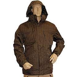 Pulse Mens Brown Pinstripe Snowboard Jacket