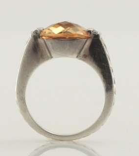 David Yurman Sterling Silver Citrine Diamond Accent Cocktail Ring Size