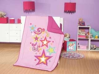 New Baby Girls Pink Purple Stars Crib Bedding Nursury Set 6pcs