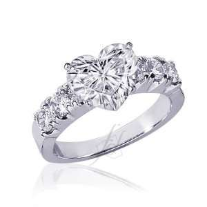 1.90 Ct Heart Shaped Diamond Engagement Ring CUT VERY