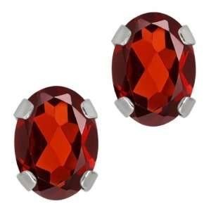 1.80 Ct Oval Red Garnet 14K White Gold 4 prong Stud