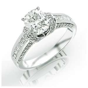 1.73 Carat 14k White Gold Engagement Ring Jewelry